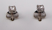 Square diamond earrings made of white gold - 0.20 ct