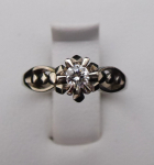 Art deco ring, white gold, 0.15 ct diamond