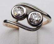 Ring with ripples made of white gold - 0.50 ct diamonds