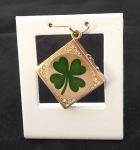 Gold medallion, opening, green four-leaf clover - 1880 - 1920