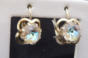 Silver earrings with jewelery iridescent stones