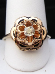Gold ring, flower, with enamel and diamond 0.25 ct