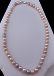 Necklace, pink freshwater pearls - gold lobster clasp