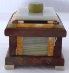 Box with lid - multicolored marble