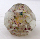 Glass paperweight with ice flowers