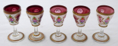 Five liqueur, painted glasses - milk and rose glass