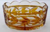 Bowl, cut glass - amber flowers and lines