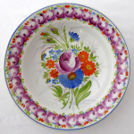 Plate with painted roses, colorful flowers - Frantisek Mica, Klenci