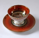 Red mocha cup, antique motifs - Suhl, Germany