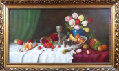 K. Müller - Still life with fruit, bowl and roses