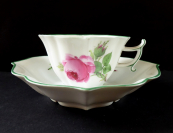 Meissen cup and saucer, painted roses, arch-shaped
