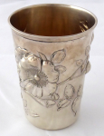 Art Nouveau silver cup, with a wild roses