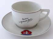 Cup with a saucer and the emblem of the city of Karlsbad