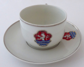 Cup and saucer, emblem of the city of Carlsbad