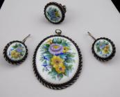 Pendant, ring, earrings, colored enamel - flowers