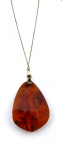 Silver chain and pendant with large amber