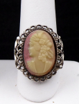 Silver ring with jewelery cameo
