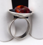 Silver ring with amber - Poland 1963 - 1980