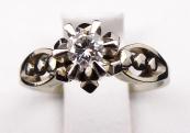 Art deco ring, white gold, 0.15 ct diamond