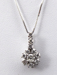 Pendant with chain, white gold - 0.60 ct