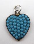 Silver heart, pendant - blue glass beads
