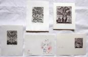 Olga Cechova - 3 x Ex libris, PF 1980, drawing Bird
