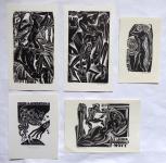 Anna Grmelova - Five ex libris ( 2x J. Bilka, 2x F. Novy )