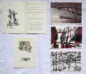 Four color lithographs, 1x zincography