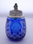 Tankard, cobalt and crystal glass, pewter lid