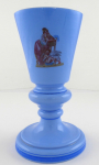 Cup, vase made of blue opaque glass