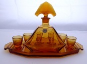 Carafe and glasses, amber glass - Stölzle