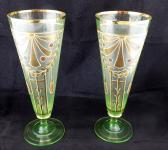 Pair of Art Nouveau gilt uranium glass tumblers