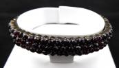 Antique Czech garnet bracelet, three rows