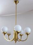 Art deco chandelier in polished brass