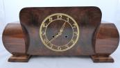Art deco table clock in walnut veneer