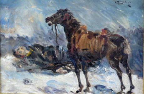 Raněný voják s koněm