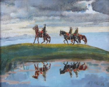 Vojáci na koních u rybníka