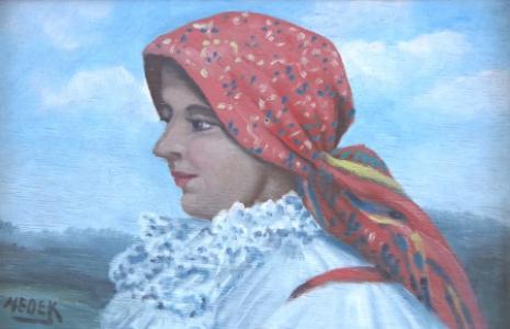 Portrét ženy v krojovém šátku