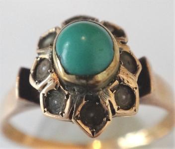 Zlatý prstýnek s říčními perličkami a tyrkysem (5).JPG