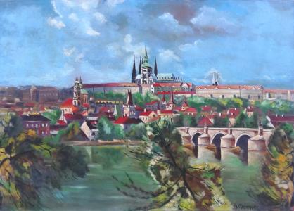 A. Moravec - Hradčany a Karlův most (1).JPG