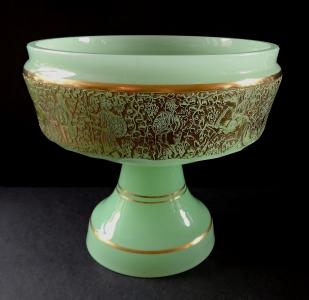 Mísa ze zeleného opálového skla a zlaceným pásem (1).JPG