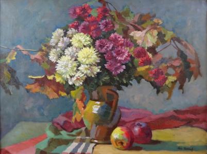 Adolf Petříček - Podzimní kytice ve džbánu, s jablky (2).JPG