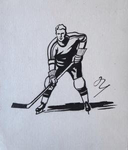 Marcel Niederle - Hokejista s hokejkou u ledu (1).JPG