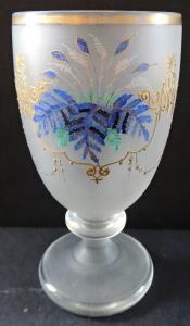 Sklenička z matného skla a modrými listy (1).JPG