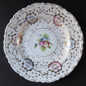 Talířek se zlaceným ornamentem a květiny - Klášterec (1).JPG