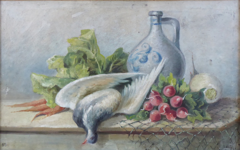 Zátiší se zeleninou, holubem a džbánem - M. K. 1910 (2).JPG