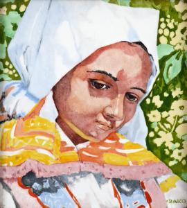 Portrét dívky v bílém čepci dle Joži Úprky - RAKO (2).JPG